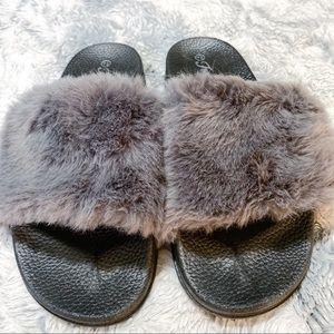 Forever 21 Fur Slide on hard sole slippers size 8